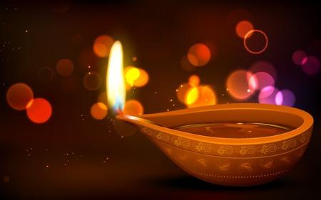 illustration of burning diya on Diwali Holiday background Vettoriali