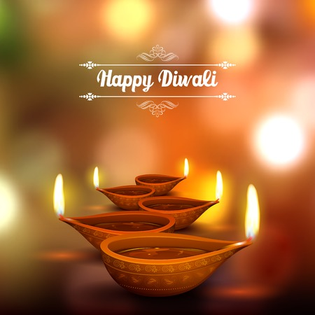 illustration of burning diya on Diwali Holiday background Vectores