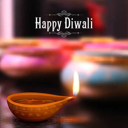 illustration of burning diya on Diwali Holiday background 矢量图像