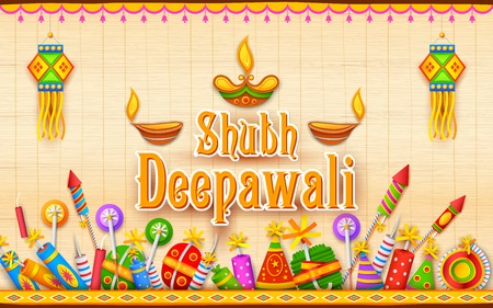 diwali celebration: illustration of Shubh Deepawali (Happy Diwali) background with diya and firecracker