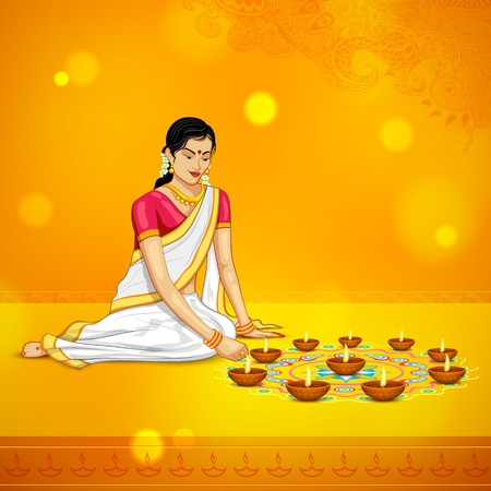 illustration of woman burning diya for Indian festival Diwali Vector