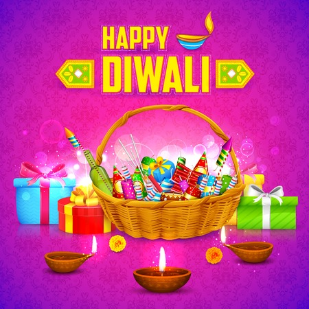 illustration of Happy Diwali Background with firecracker and diya Vector