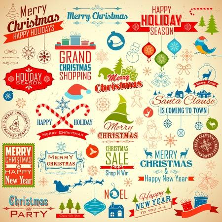 vintage etiket: illustratie van collectie van kalligrafische en typografisch ontwerp voor Kerstmis decoratie