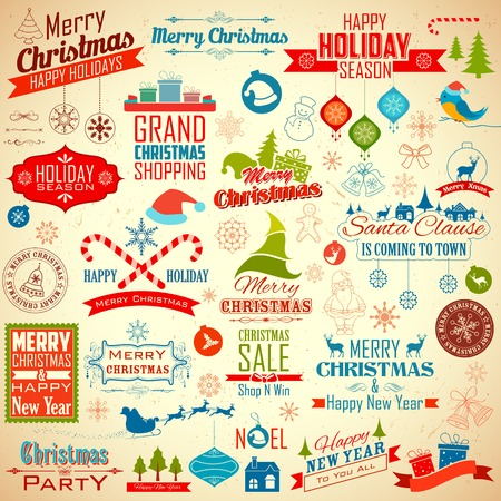graphics: illustration of collection of calligraphic and typographic design for Christmas decoration