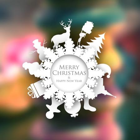 illustration de fond de Noël avec la décoration de la coupe du papier