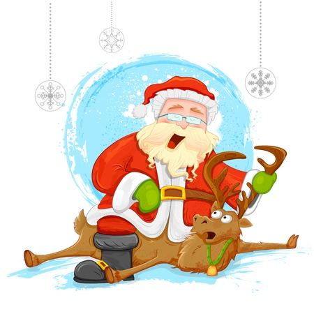 illustration of Santa on reindeer in Christmas background Vector