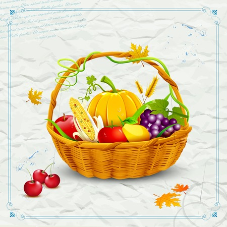 illustration of fruits and vegetable in basket  for thanksgiving Vector