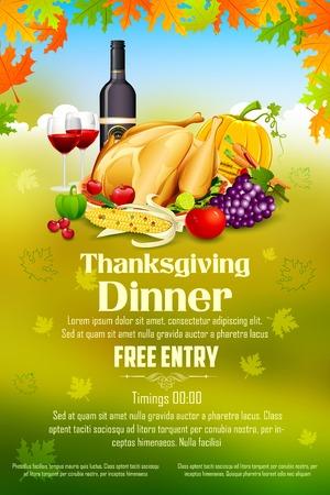 festival of the grape harvest: llustration of Thanksgiving celebration banner with maple leaf Illustration