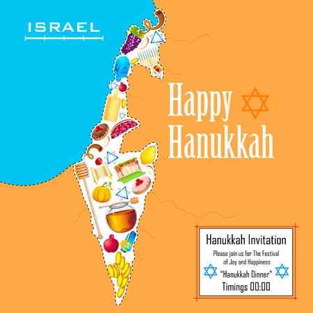 menora: illustration of holy object forming map of Israel in Hanukkah background