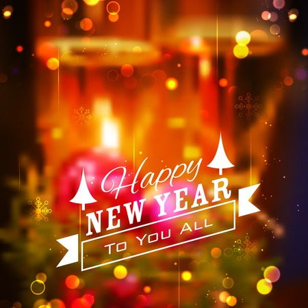 happy new year card: illustration of abstract Merry Christmas and Happy New Year Background