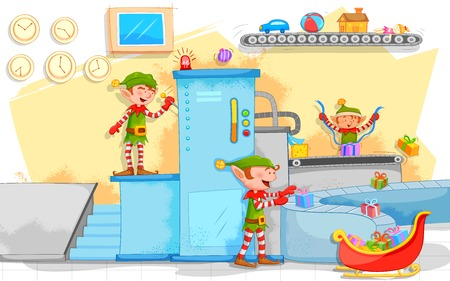 illustration of Elf making Christmas gifts in toy factory