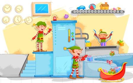 ilustración de Elf hacer regalos de Navidad en la fábrica de juguetes