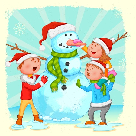 illustration of kids building Snowman for Christmas Vector