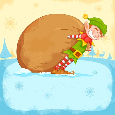 illustration of Elf dragging sack full of Christmas gifts Vector