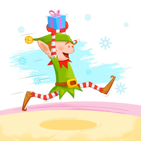 elf cartoon: illustration of Elf distributing Christmas gift