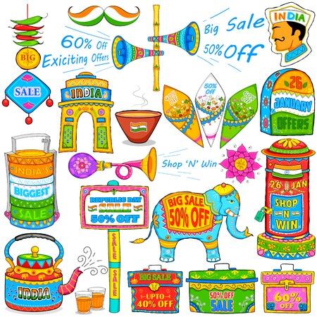 independencia: ilustraci�n de arte kitsch de la India mostrando venta y promoci�n Vectores