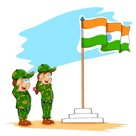 familia asiatica: ilustraci�n de los ni�os que saludan la bandera de la India