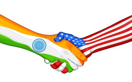 15 august: illustration of handshake showing India-America relationship