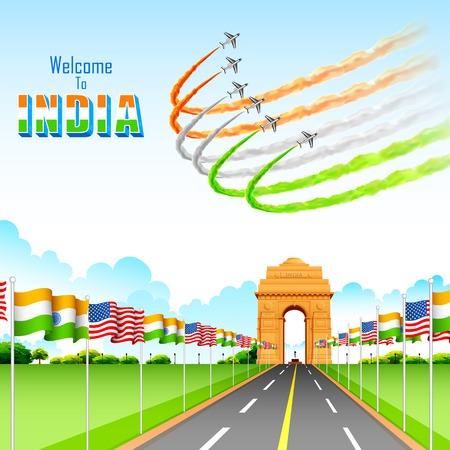 india gate: illustration of India-America relationship on India Gate