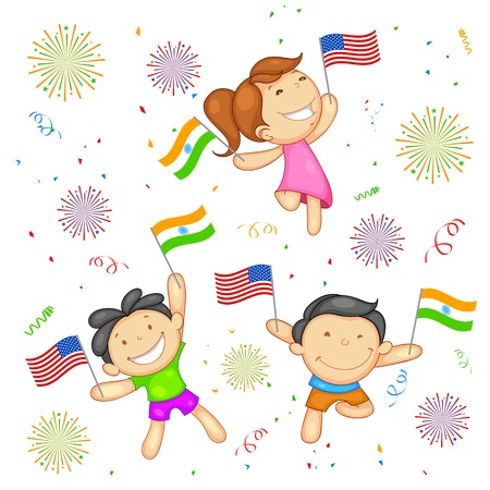 happy asian family: illustration of kid with flag India-America relationship