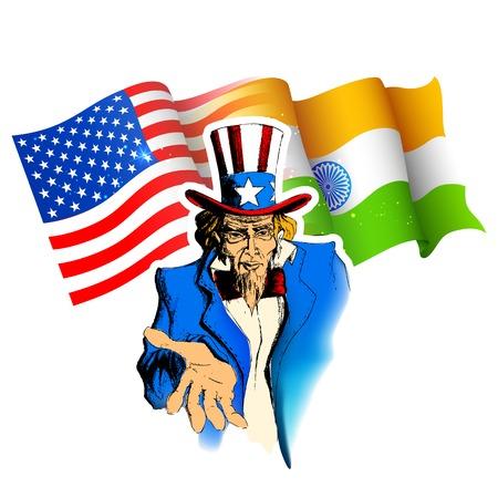인도 - 미국 관계를 보여주는 엉클 샘의 초상화 그림