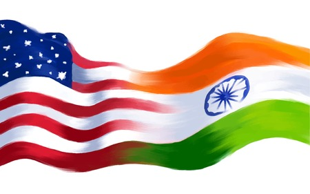 independence day america: illustration of India-America relationship Illustration