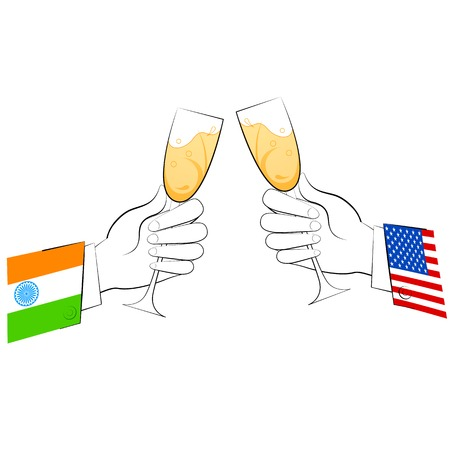 festive occasions: illustration of toast of glasses showing India-America relationship