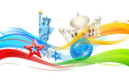 ashoka: illustration of India-America relationship with monument Illustration