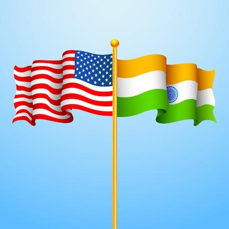 indian culture: illustration of flag India-America relationship Illustration