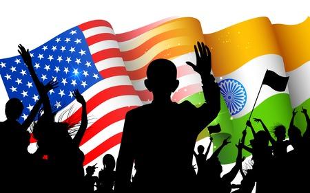 personas saludando: ilustraci�n de personas que ondeaban la bandera de American-bandera de la India