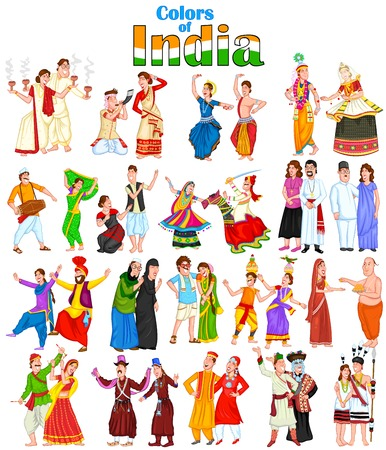 tanzen: Gl�ckliche Paare, die aus verschiedenen Bundesstaaten Indiens Illustration