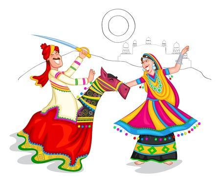rural india: Dancing Rajasthani couple of India Illustration