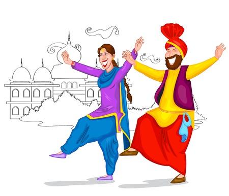 Dancing Punjabi couple of India  Vector