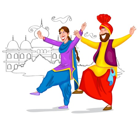 salwar: Dancing Punjabi couple of India