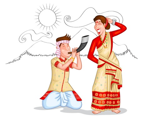 rural india: Dancing Assamese couple of India in vector Illustration