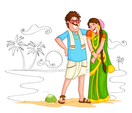 familia asiatica: Sur pareja de indios de la India Vectores