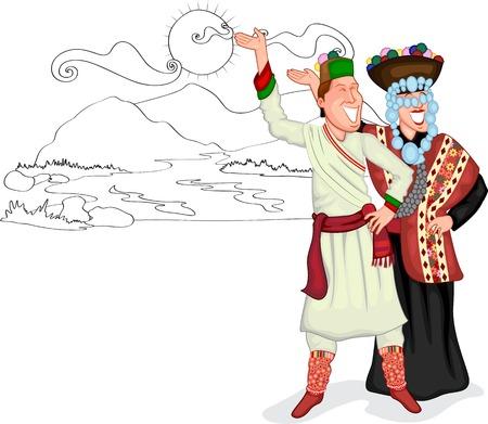 himalaya: Himachal Pradesh couple of India  Illustration