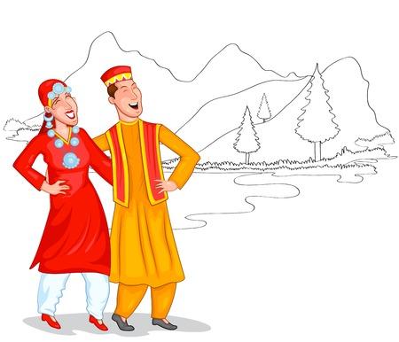 indian village: Dancing Kashmiri couple of India Illustration
