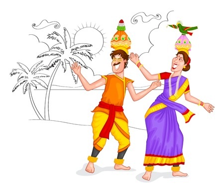 kerala culture: Dancing Tamil couple of India