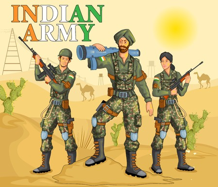 army helmet: Indian army showing victory of India Illustration