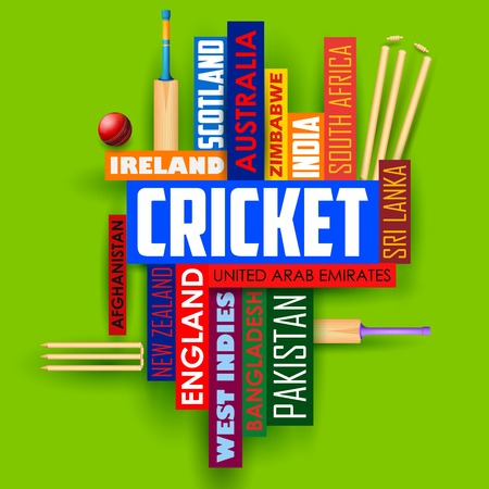 bail: illustration of Cricket typography background with different participating countries name