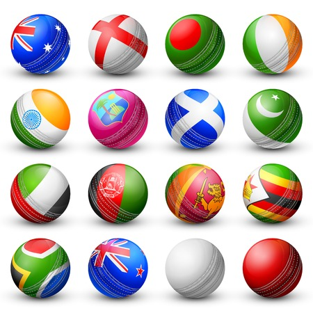 pakistan flag: illustration of cricket bat of different participating countries Illustration