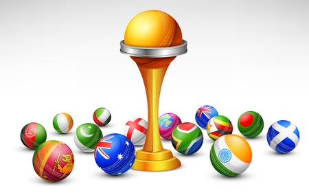 cricket ball: illustration of cricket bat of different participating countries Illustration