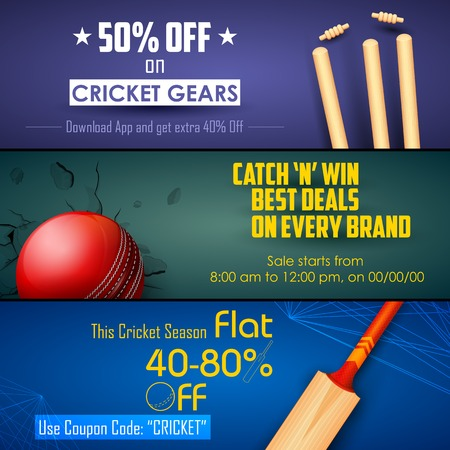 illustration of sale and promotion banner for cricket season Vector