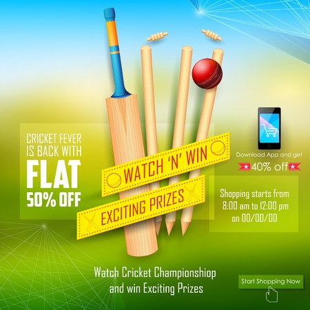wicket: illustration of sale and promotion banner for cricket season Illustration
