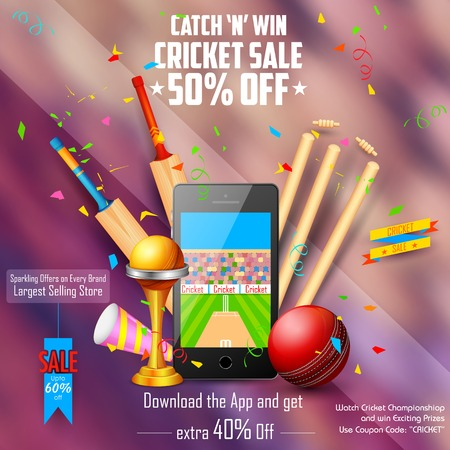 bail: illustration of sale and promotion banner for cricket season Illustration