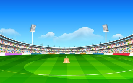 floodlit: illustration of stadium of cricket with pitch