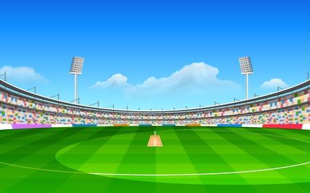 illustrazione dello stadio di cricket con passo Vettoriali