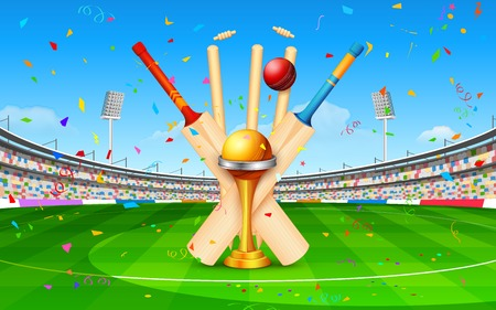 bat and ball: illustration of stadium of cricket with bat, ball and trophy Illustration