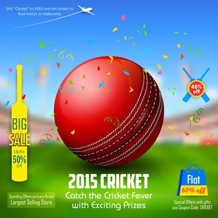 cricket ball: illustration of sale and promotion banner for cricket season Illustration